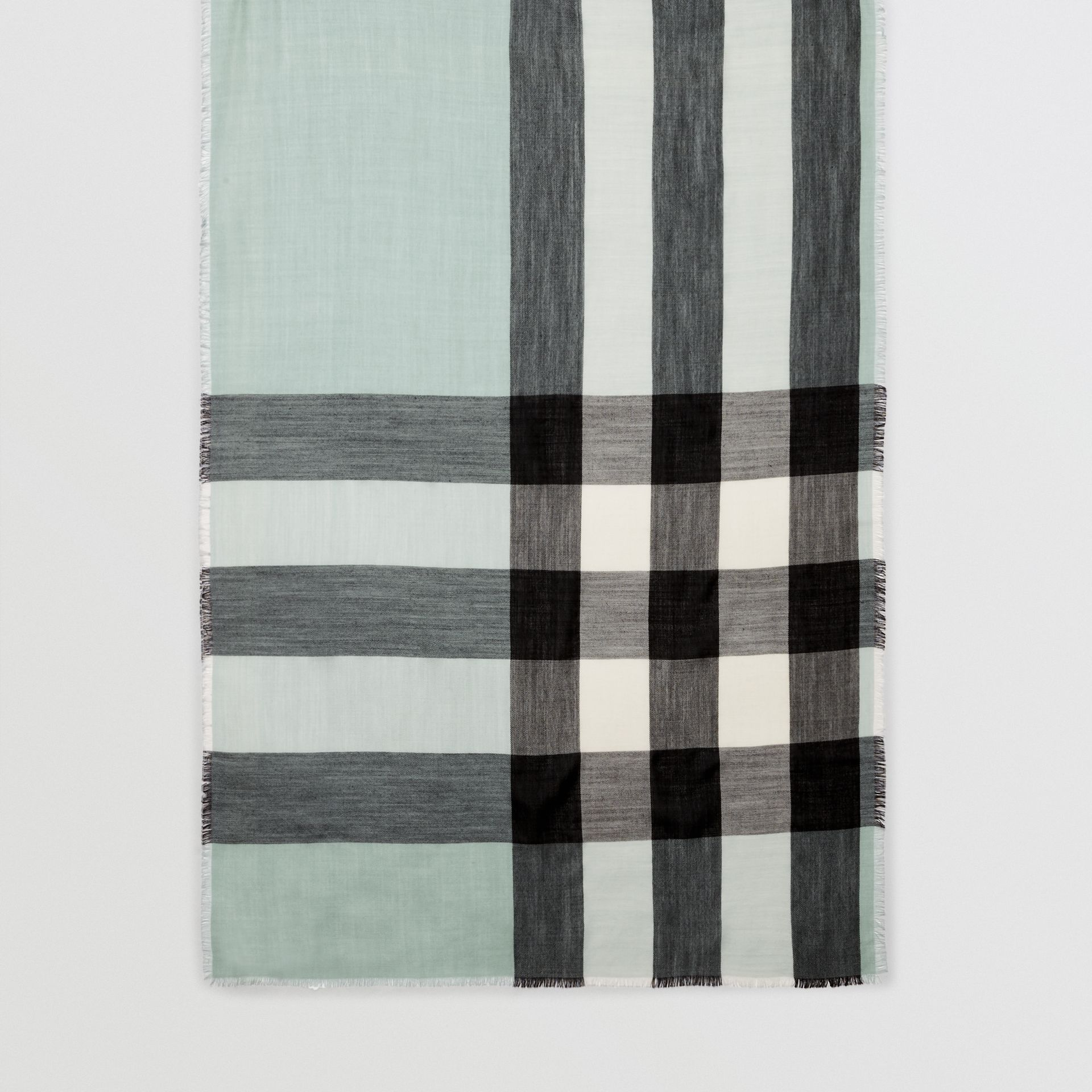 Lightweight Check Cashmere Scarf in Dusty Mint | Burberry - gallery image 0