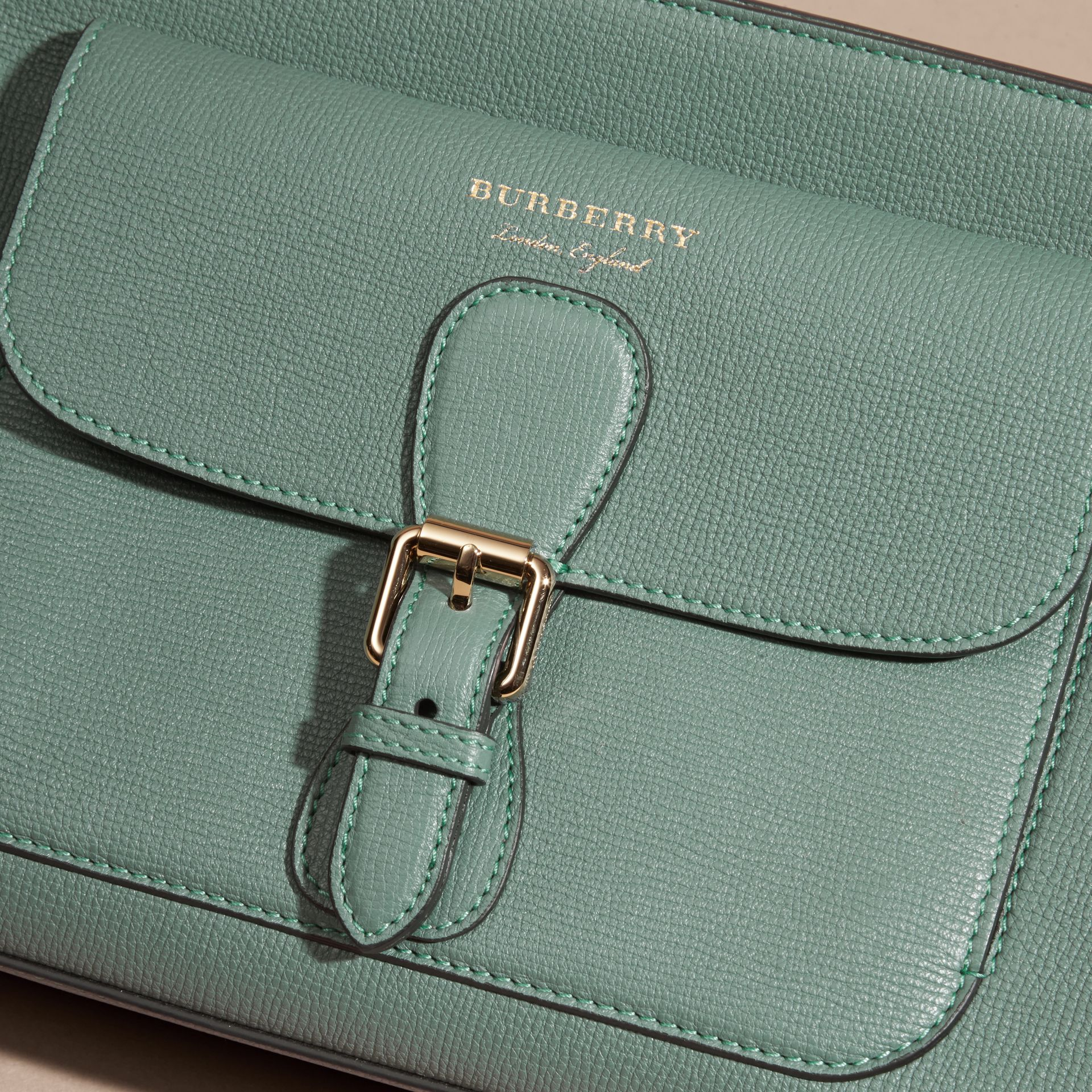 Smokey green The Saddle Clutch in Grainy Bonded Leather Smokey Green - gallery image 6