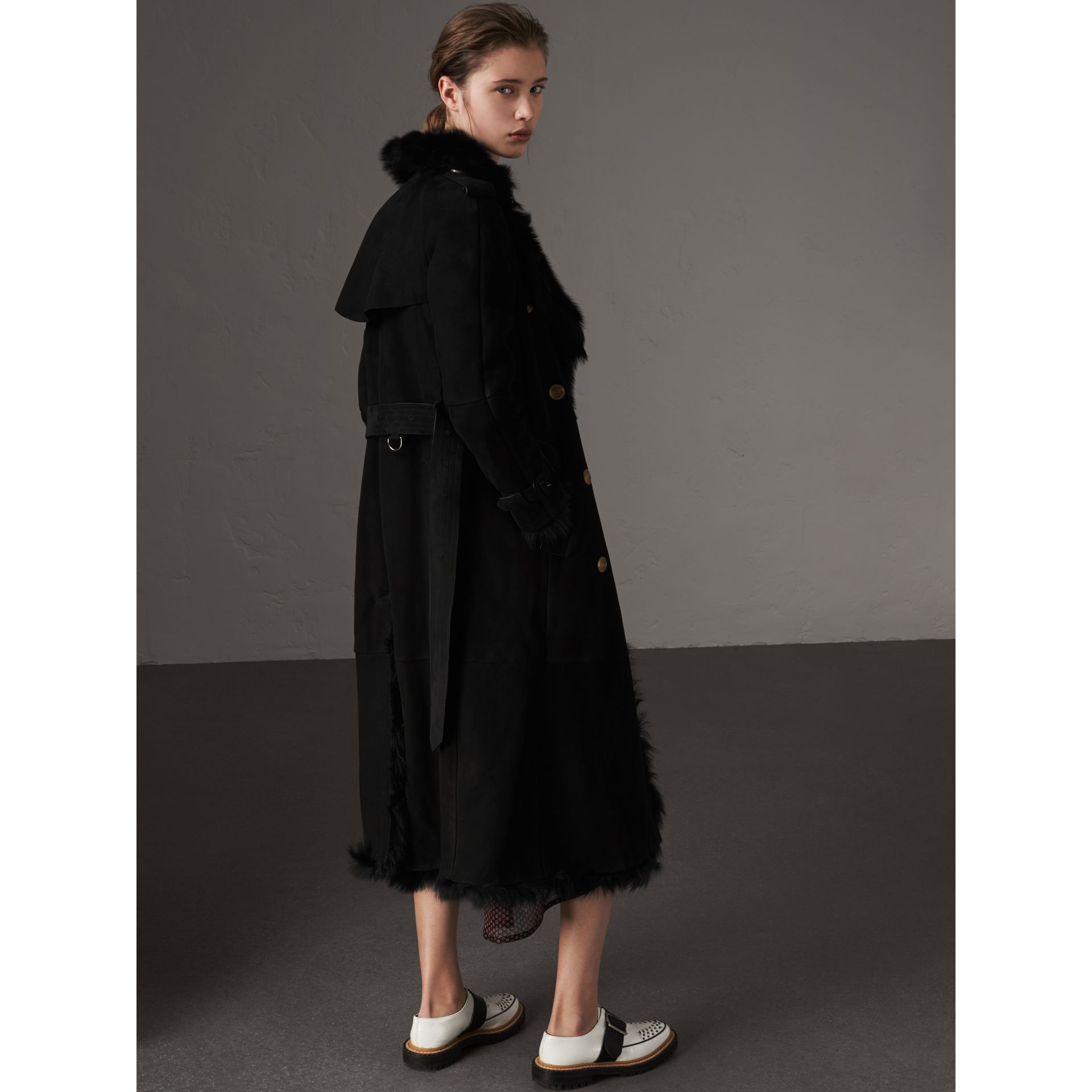 Shearling Trench Coat in Black - Women | Burberry - gallery image 3