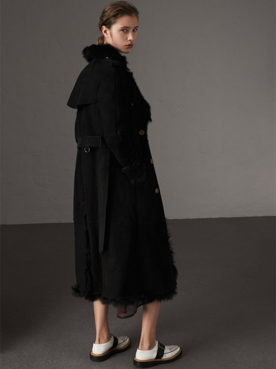 Shearling Trench Coat in Black - Women | Burberry Singapore - cell image 2