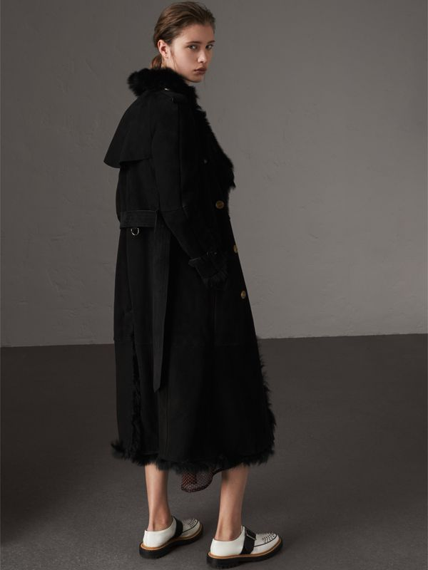 Shearling Trench Coat in Black - Women | Burberry Hong Kong - cell image 2