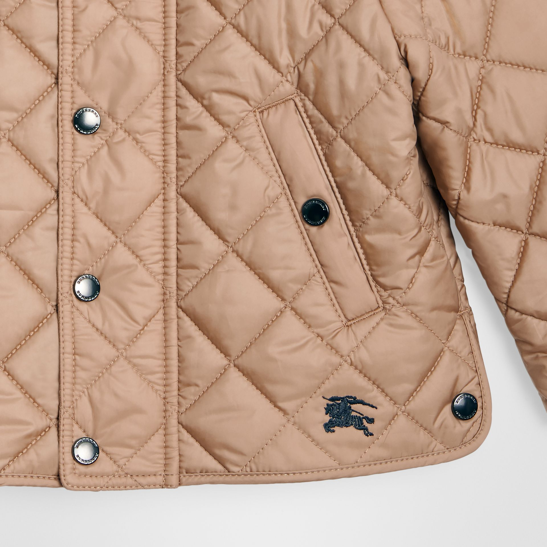 Lightweight Diamond Quilted Jacket in Camel - Children | Burberry - gallery image 4