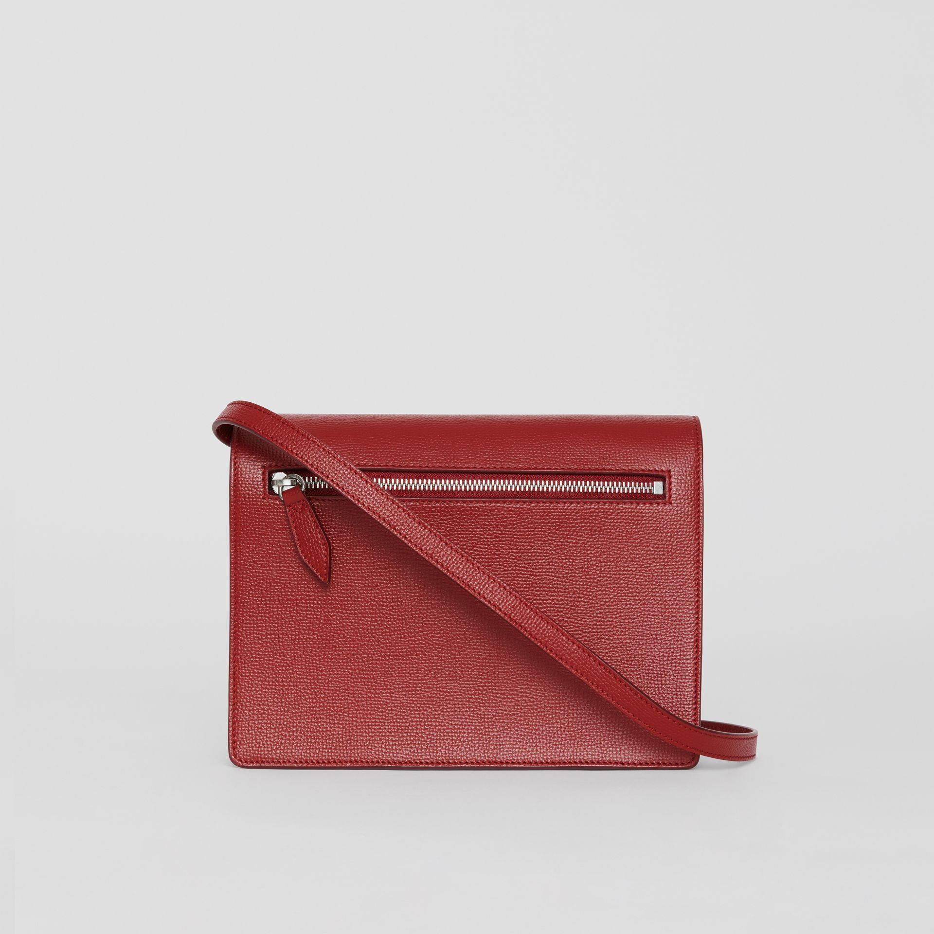 Small Vintage Check and Leather Crossbody Bag in Crimson - Women | Burberry Australia - gallery image 7