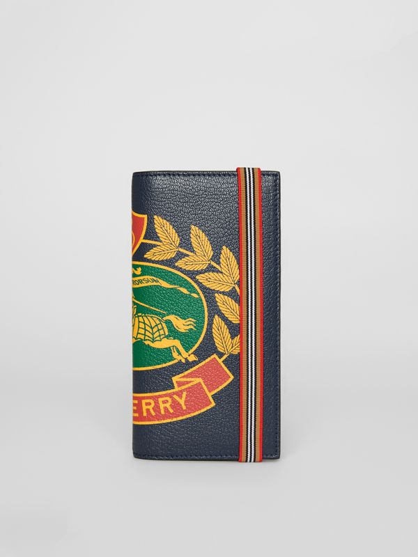Crest Print Leather Continental Wallet in Storm Blue - Men | Burberry - cell image 2