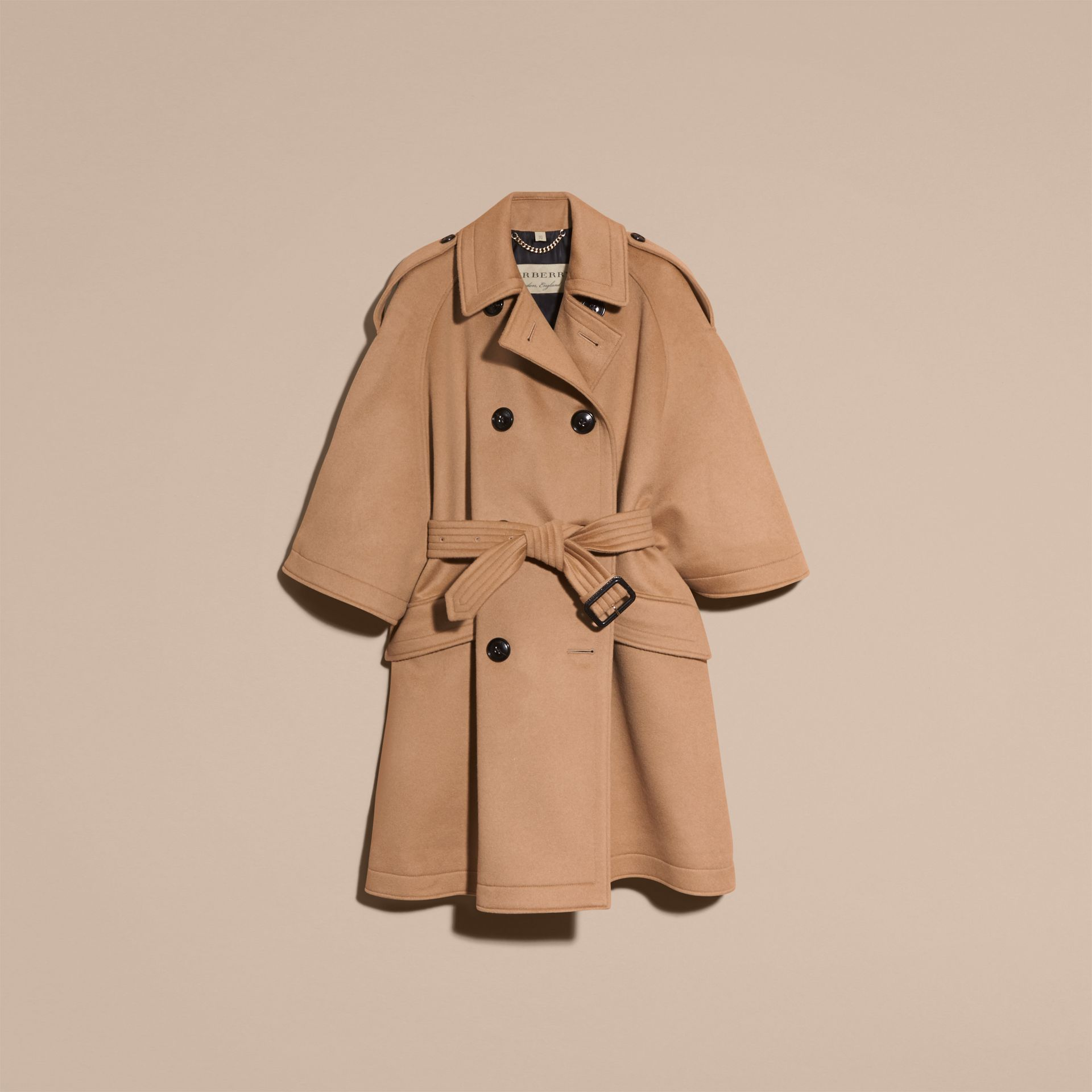 Camel Wool Cashmere Trench Cape Coat - gallery image 4
