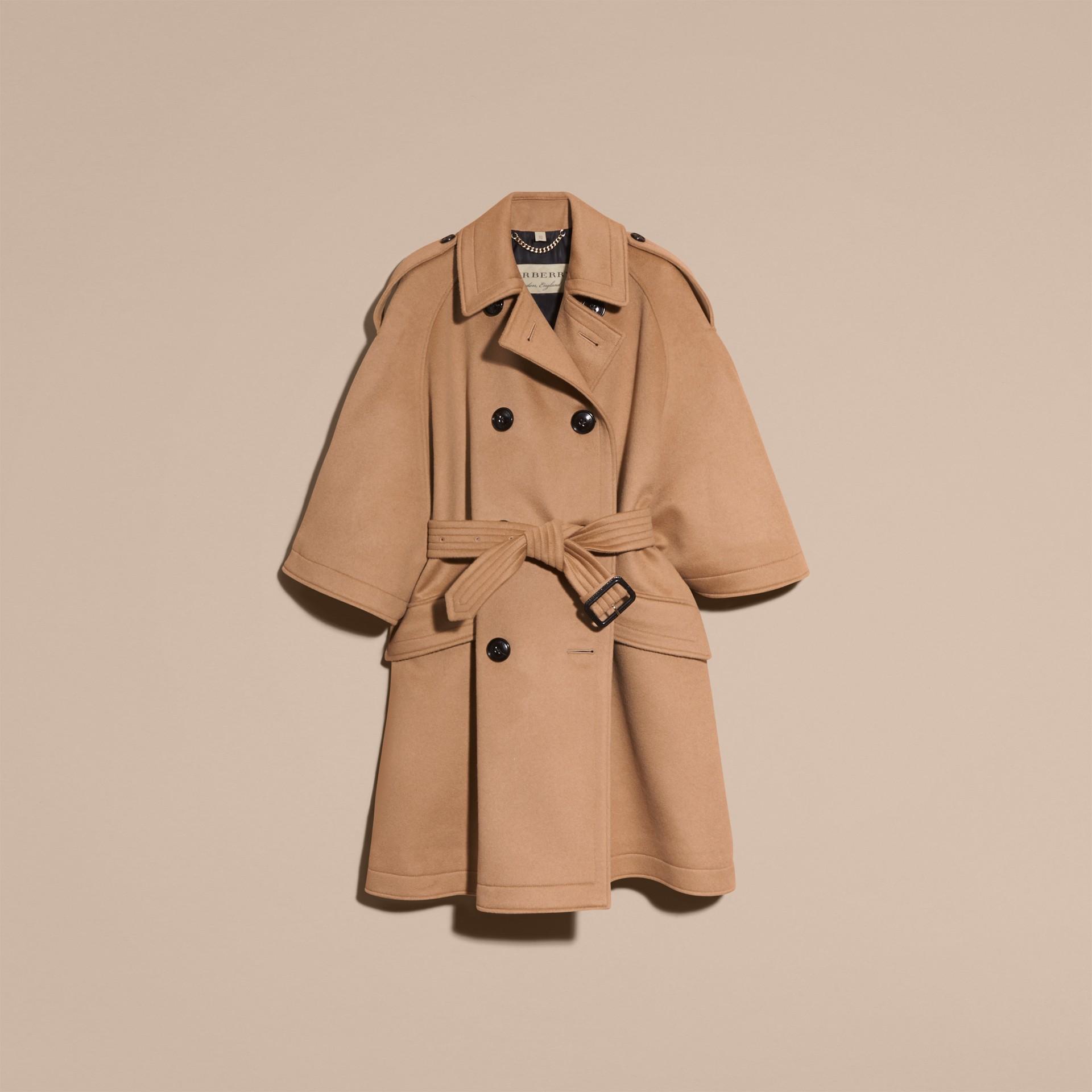 Cammello Trench coat a mantella in lana e cashmere - immagine della galleria 4