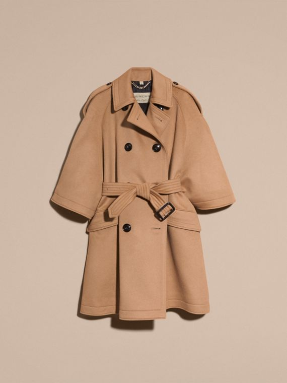 Camel Wool Cashmere Trench Cape Coat - cell image 3