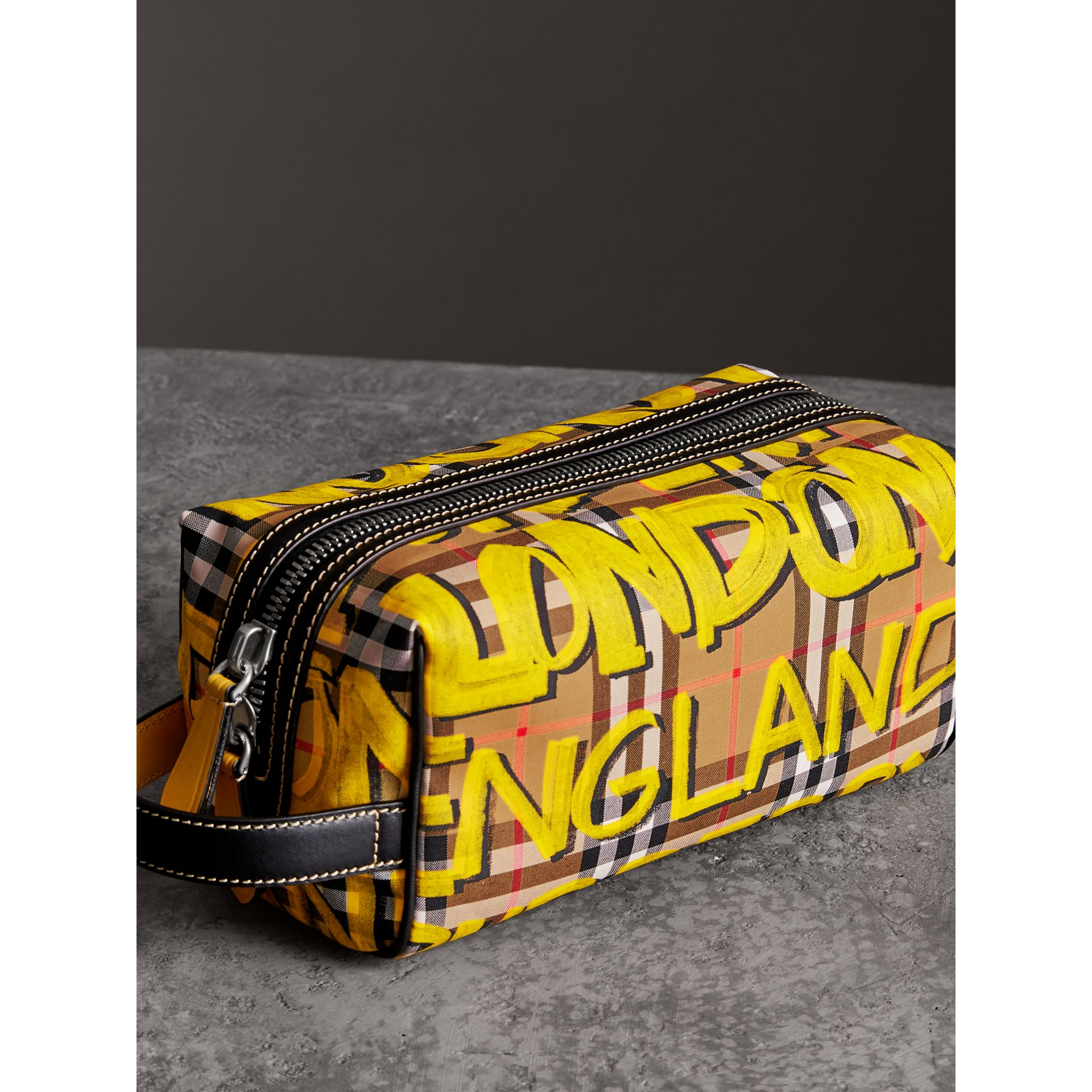 Graffiti Print Vintage Check and Leather Pouch in Bright Yellow/antique Yellow | Burberry - gallery image 4