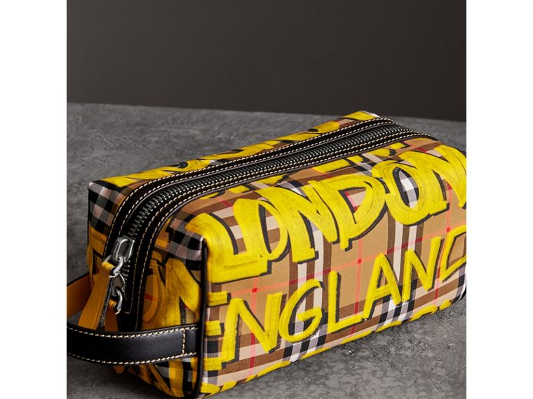 Graffiti Print Vintage Check and Leather Pouch in Bright Yellow/antique Yellow | Burberry - cell image 4