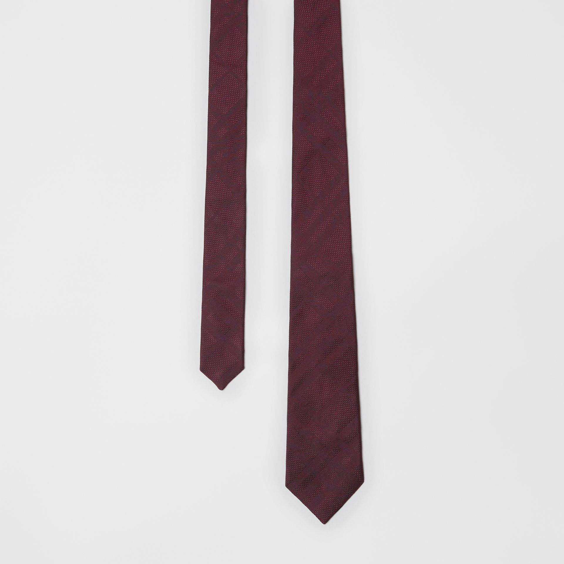 Modern Cut Check Silk Tie in Deep Claret - Men | Burberry United Kingdom - gallery image 0