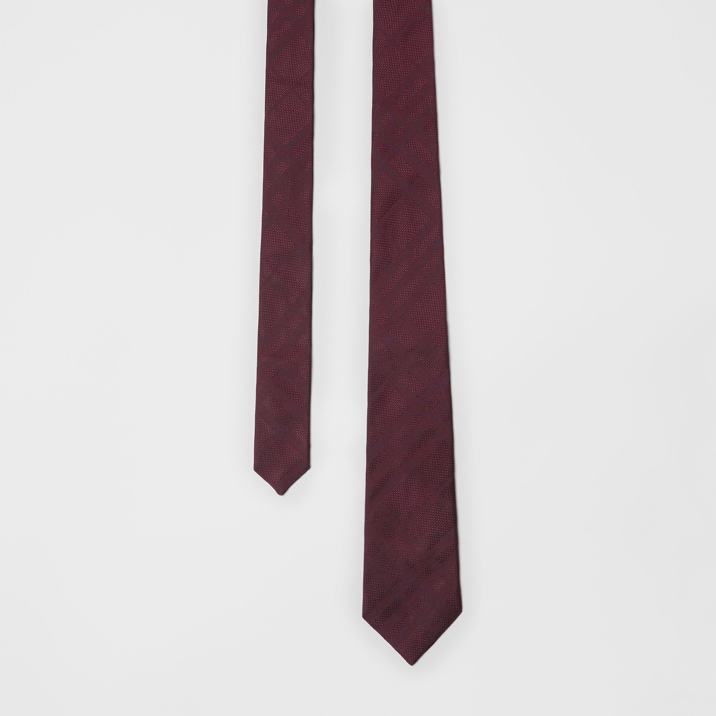 Classic Cut Check Silk Jacquard Tie in Deep Claret - Men | Burberry - 1