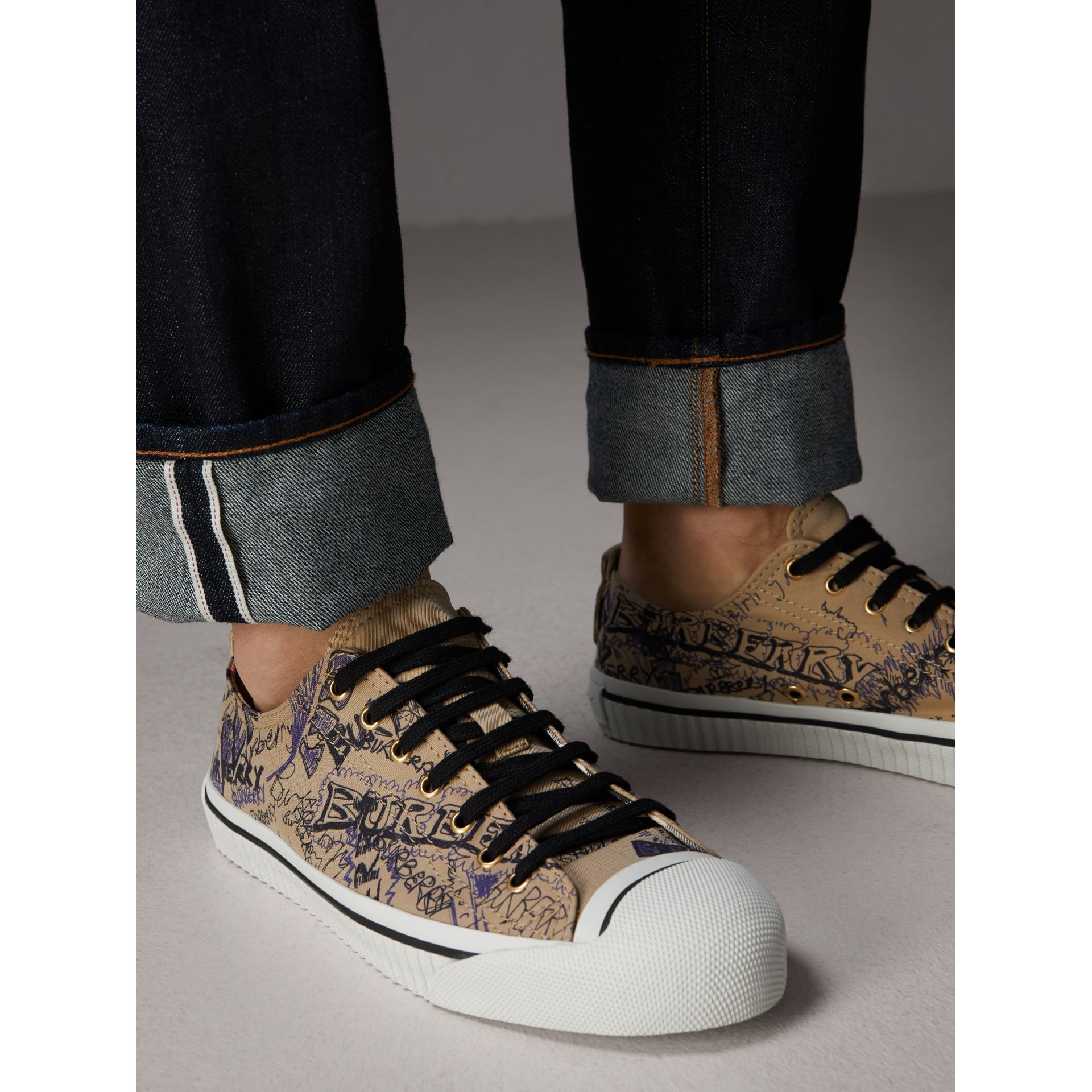 Doodle Print Cotton Gabardine Trainers in Honey - Men | Burberry - gallery image 3