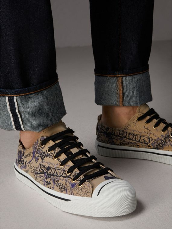 Doodle Print Cotton Gabardine Trainers in Honey - Men | Burberry - cell image 2