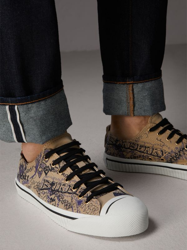 Doodle Print Cotton Gabardine Sneakers in Honey - Men | Burberry - cell image 2