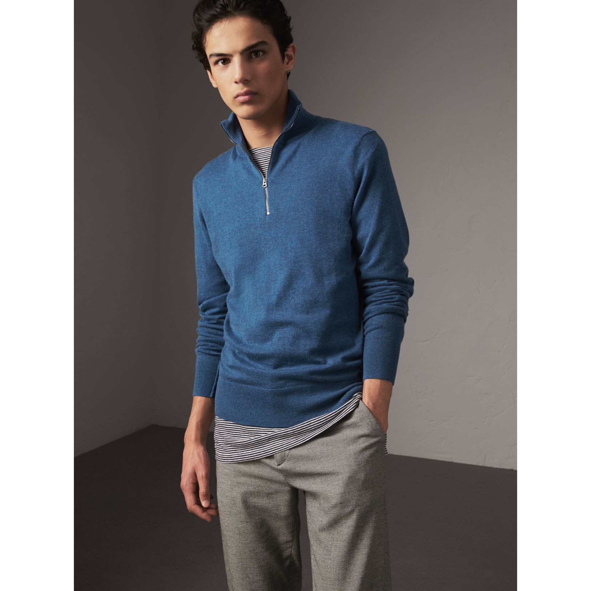 Zip-neck Cashmere Cotton Sweater in Steel Blue - Men | Burberry - gallery image 5