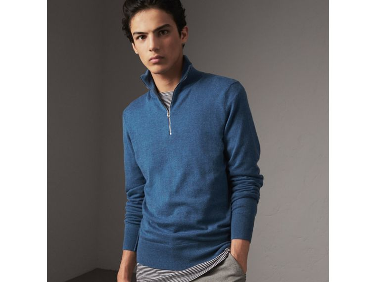 Zip-neck Cashmere Cotton Sweater in Steel Blue - Men | Burberry Australia - cell image 4