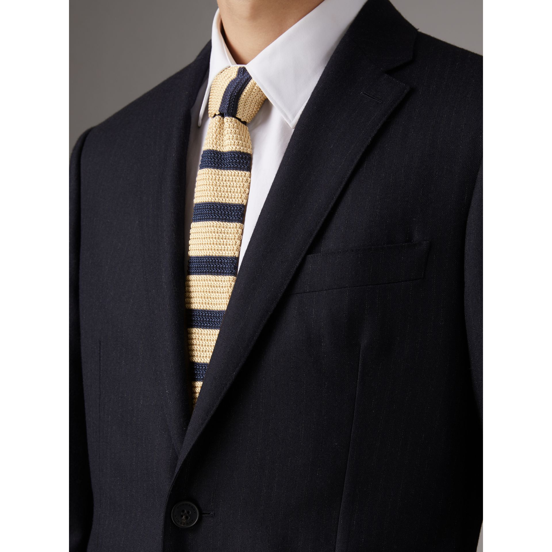 Slim Cut Two-tone Knitted Silk Tie in Limestone - Men | Burberry - gallery image 3