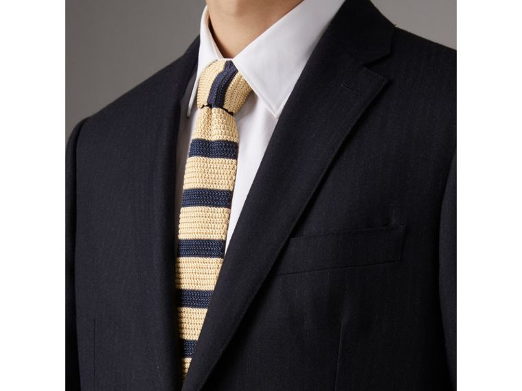Slim Cut Two-tone Knitted Silk Tie in Limestone - Men | Burberry - cell image 2