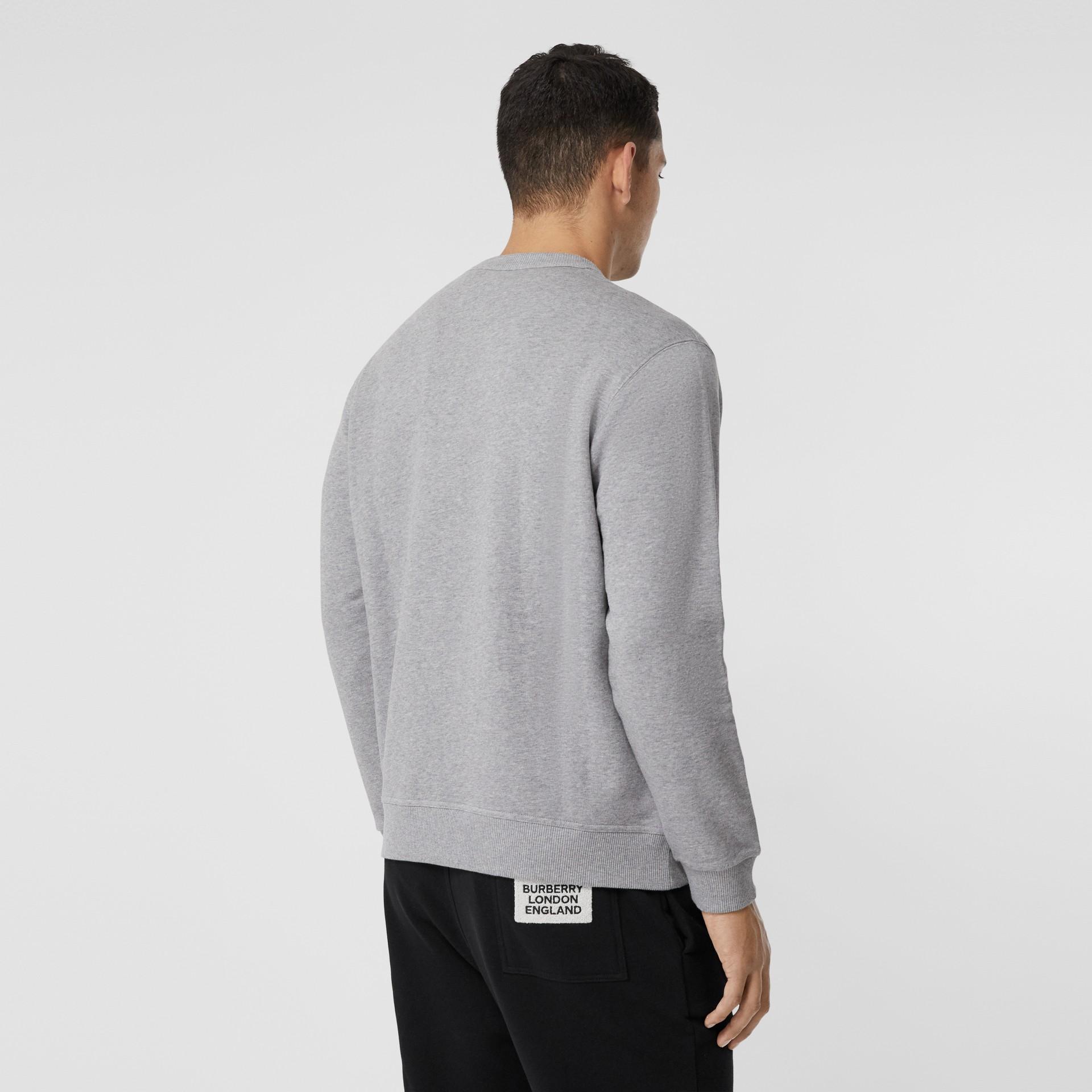 Union Jack Photo Print Cotton Sweatshirt in Pale Grey Melange - Men | Burberry - gallery image 2