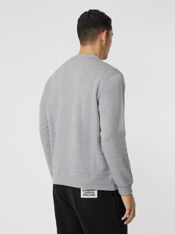 Union Jack Photo Print Cotton Sweatshirt in Pale Grey Melange - Men | Burberry - cell image 2