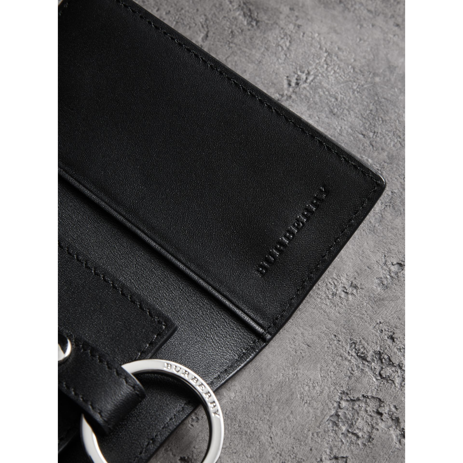 Leather Trim London Check Key Case in Charcoal/black - Men | Burberry - gallery image 1