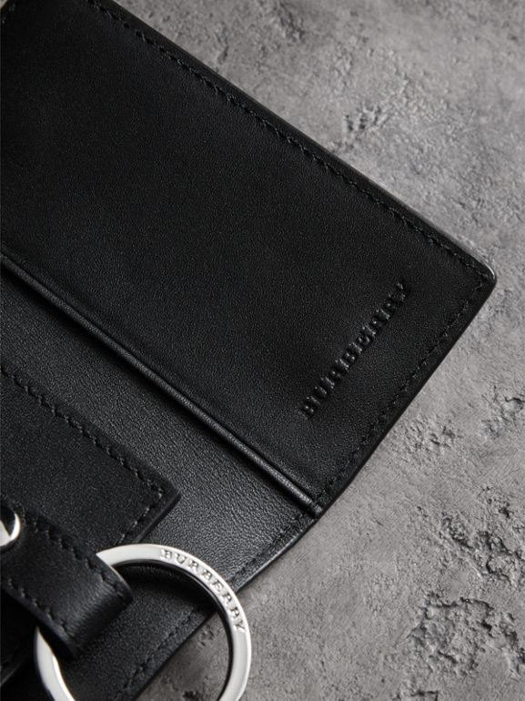 Leather Trim London Check Key Case in Charcoal/black - Men | Burberry - cell image 1
