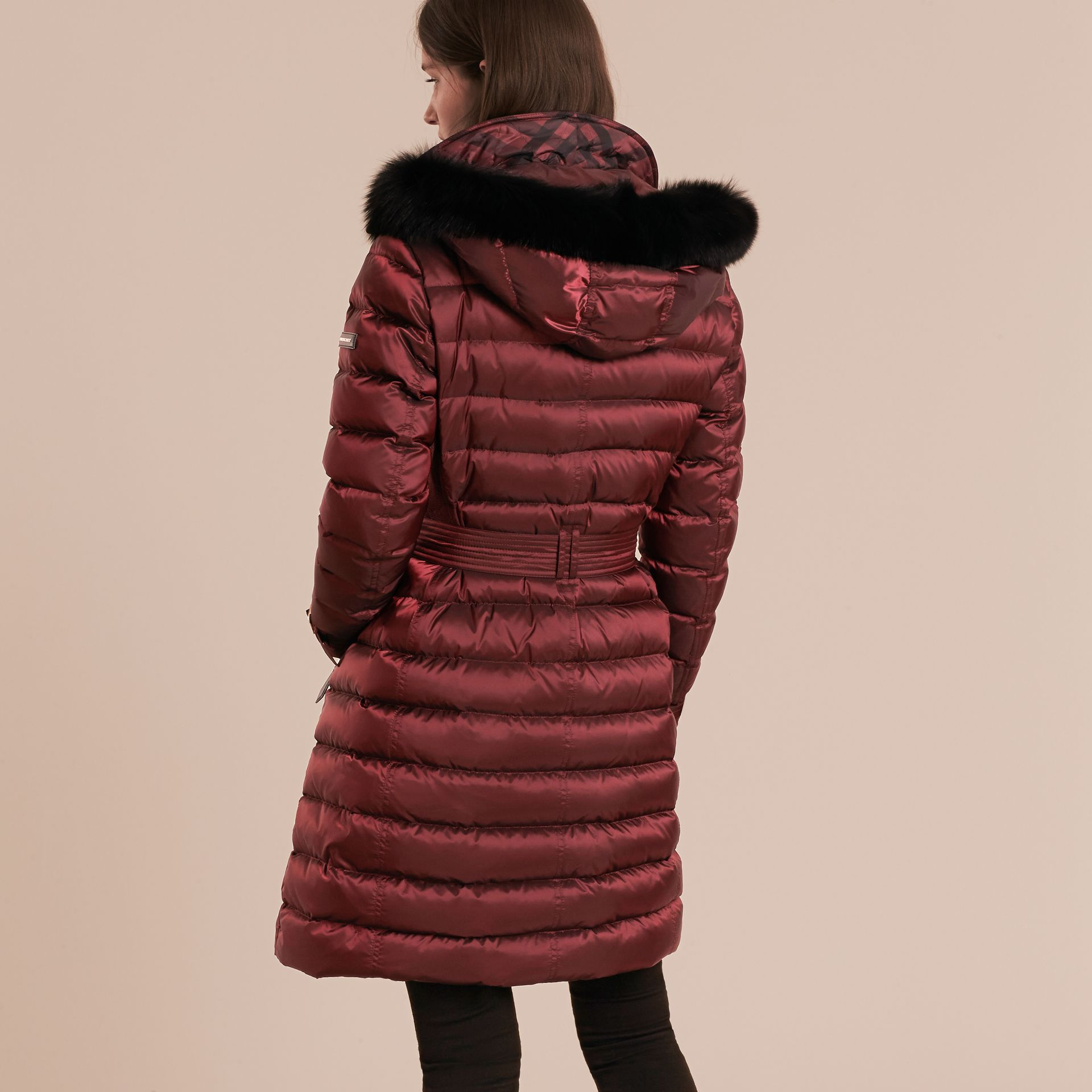 Down-filled Coat with Fox Fur Trim Hood in Burgundy - Women | Burberry - gallery image 3