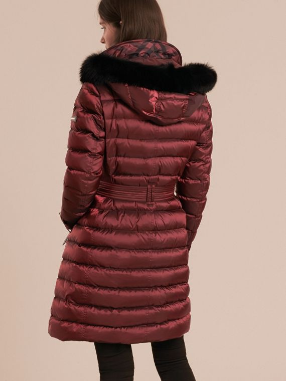 Down-filled Coat with Fox Fur Trim Hood in Burgundy - Women | Burberry - cell image 2
