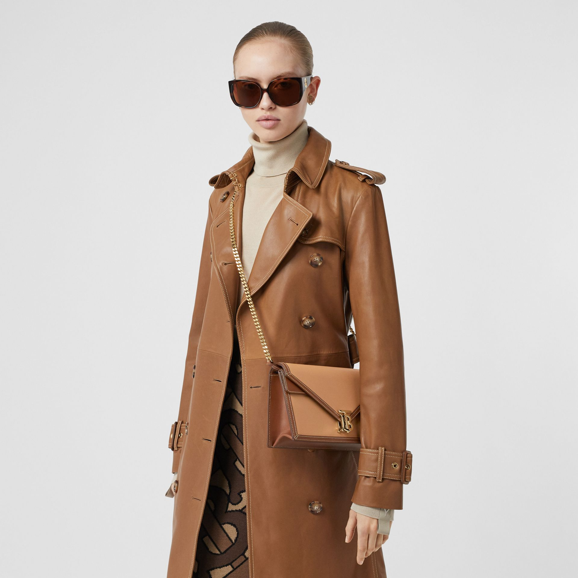 Small Two-tone Leather TB Envelope Clutch in Malt Brown - Women | Burberry - gallery image 2