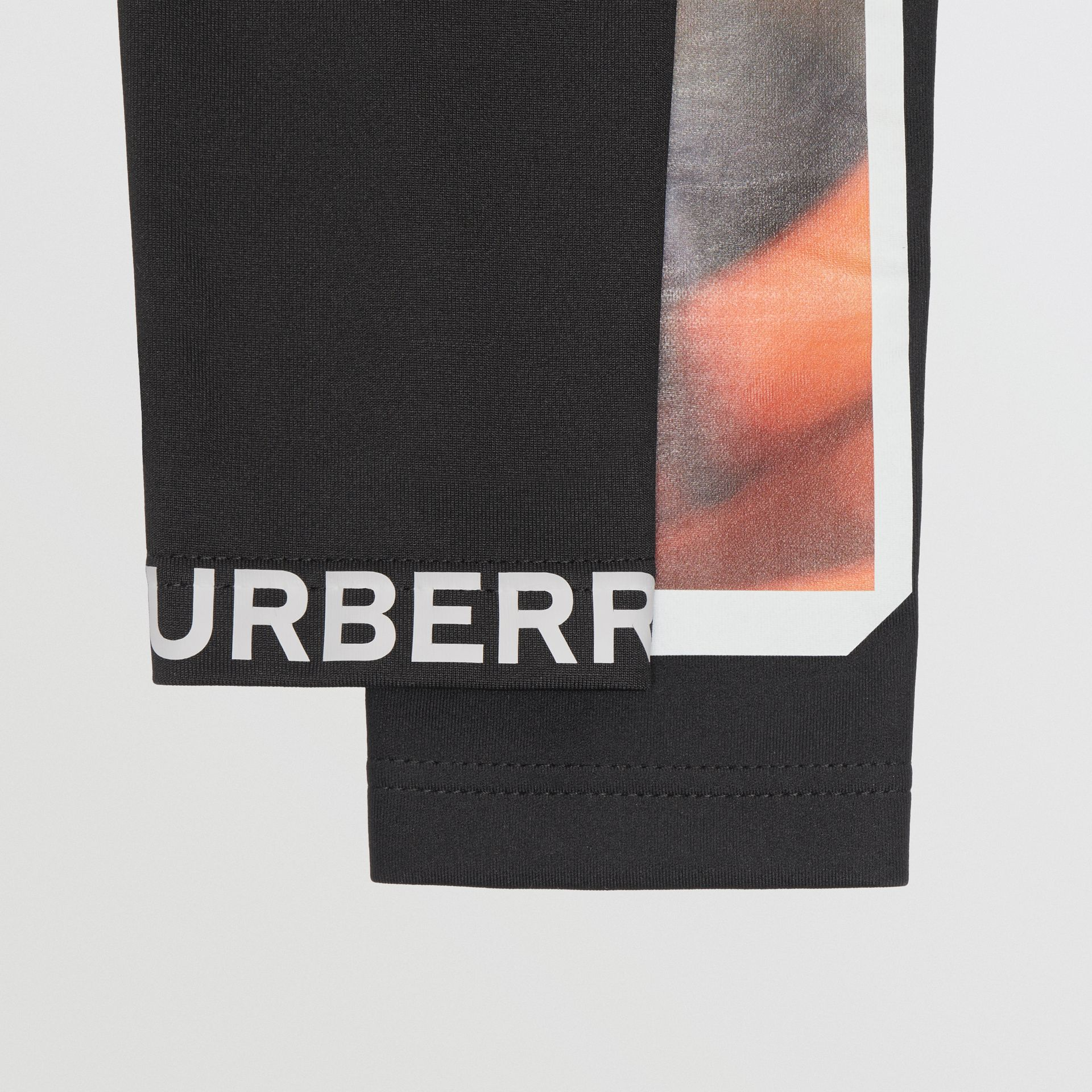 Montage Print Stretch Jersey Sleeves in Black | Burberry Australia - gallery image 1