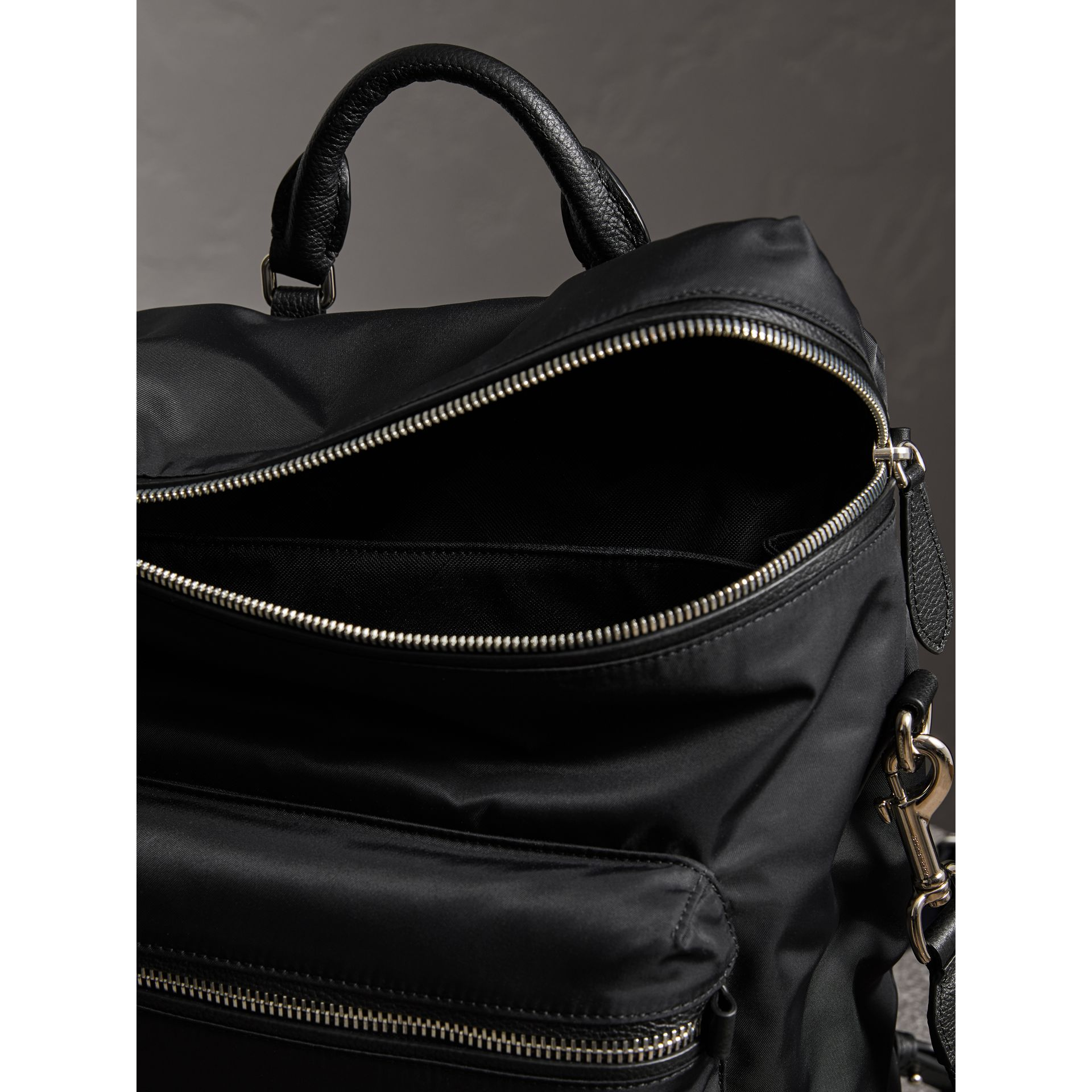 Zip-top Leather Trim Showerproof Backpack in Black - Men | Burberry - gallery image 6