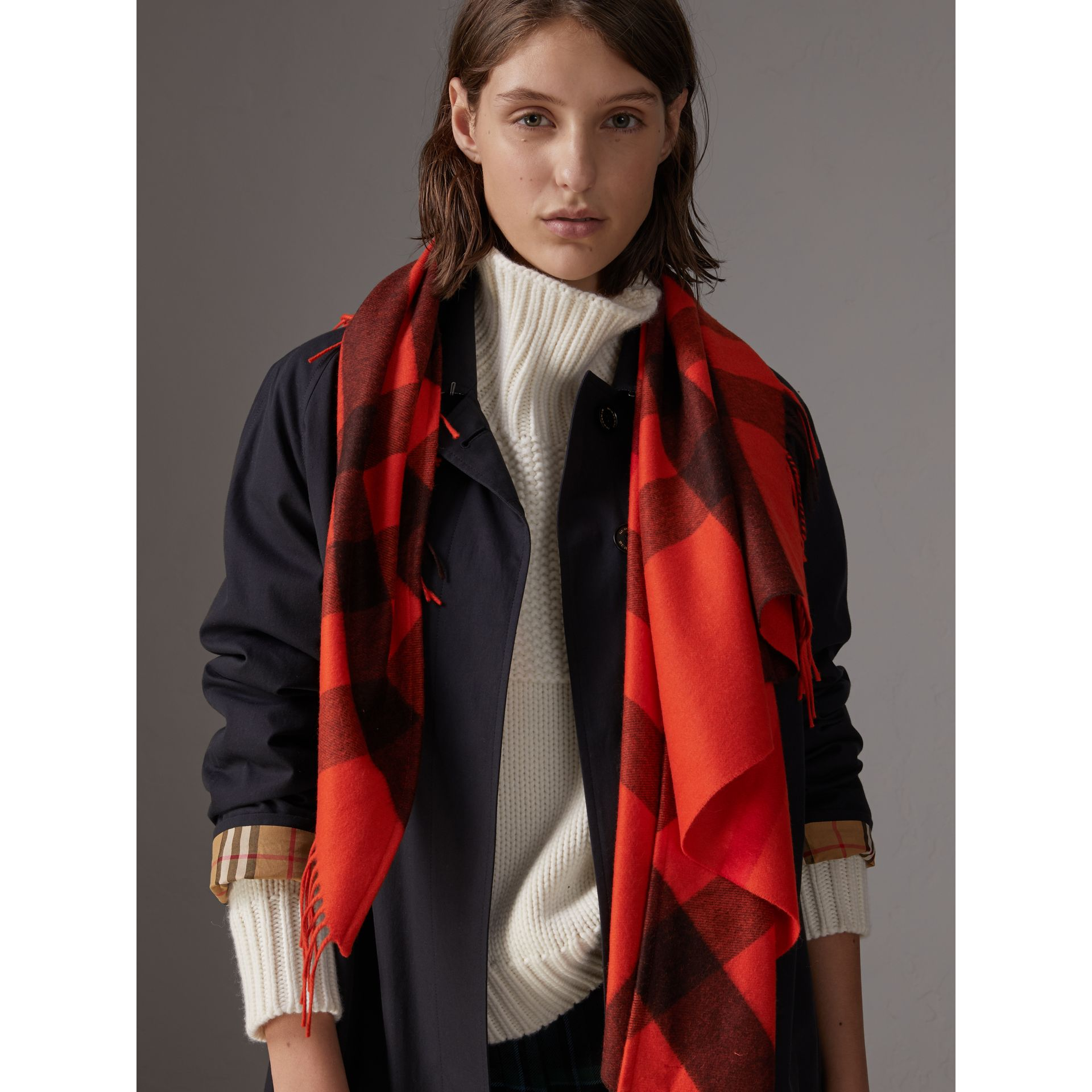 The Burberry Bandana in Check Cashmere in Orange Red | Burberry - gallery image 4