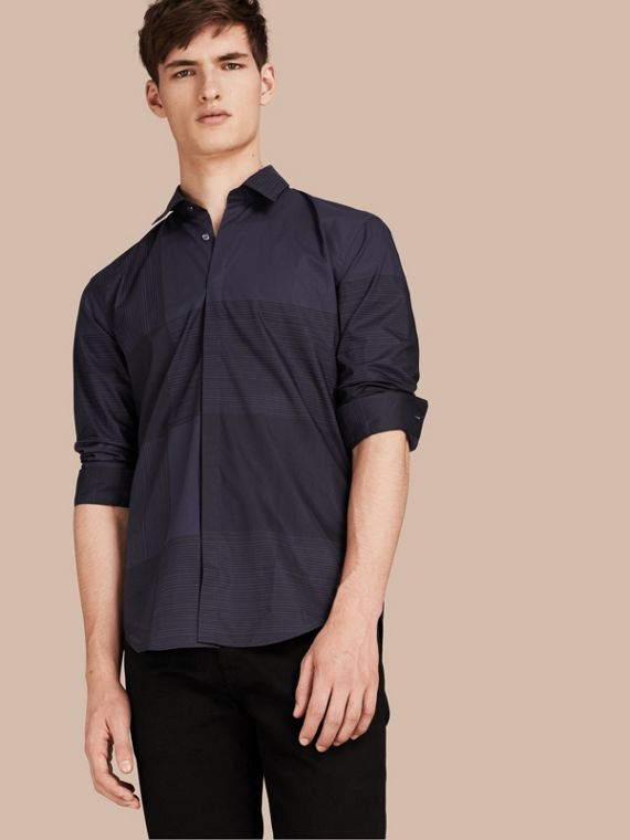 Check Cotton Shirt Navy