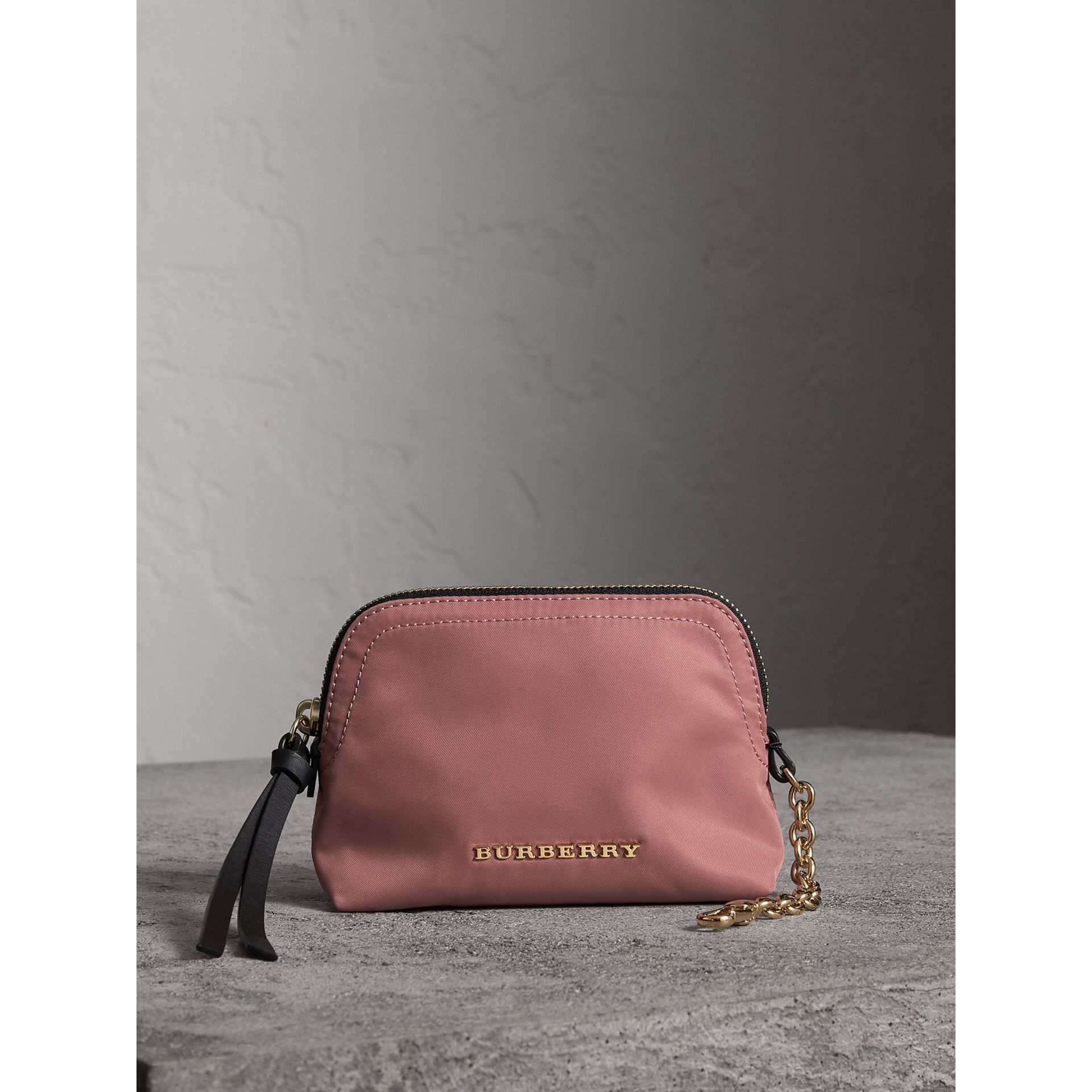 Small Zip-top Technical Nylon Pouch in Mauve Pink - Women | Burberry - gallery image 1