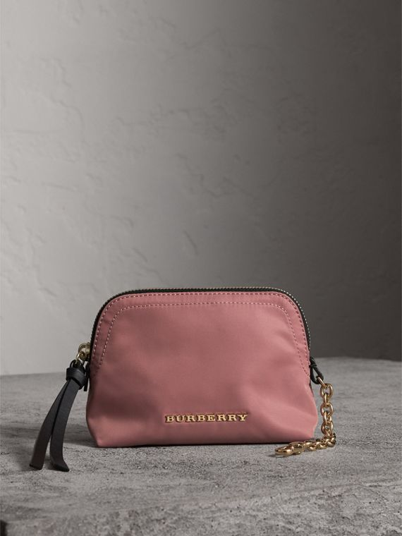Small Zip-top Technical Nylon Pouch in Mauve Pink