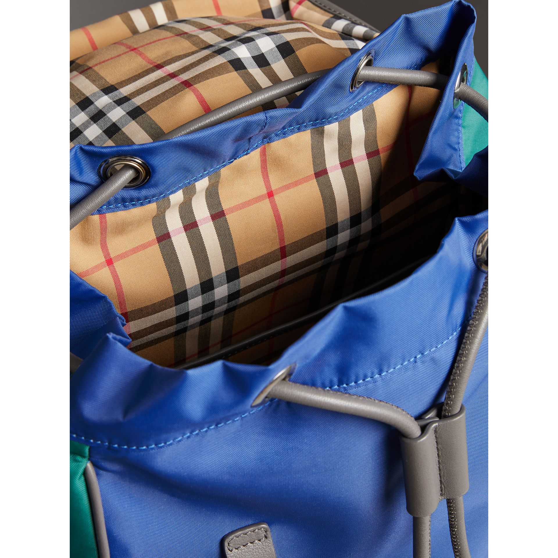 Tri-tone Nylon and Leather Backpack in Dark Canvas Blue - Men | Burberry - gallery image 5