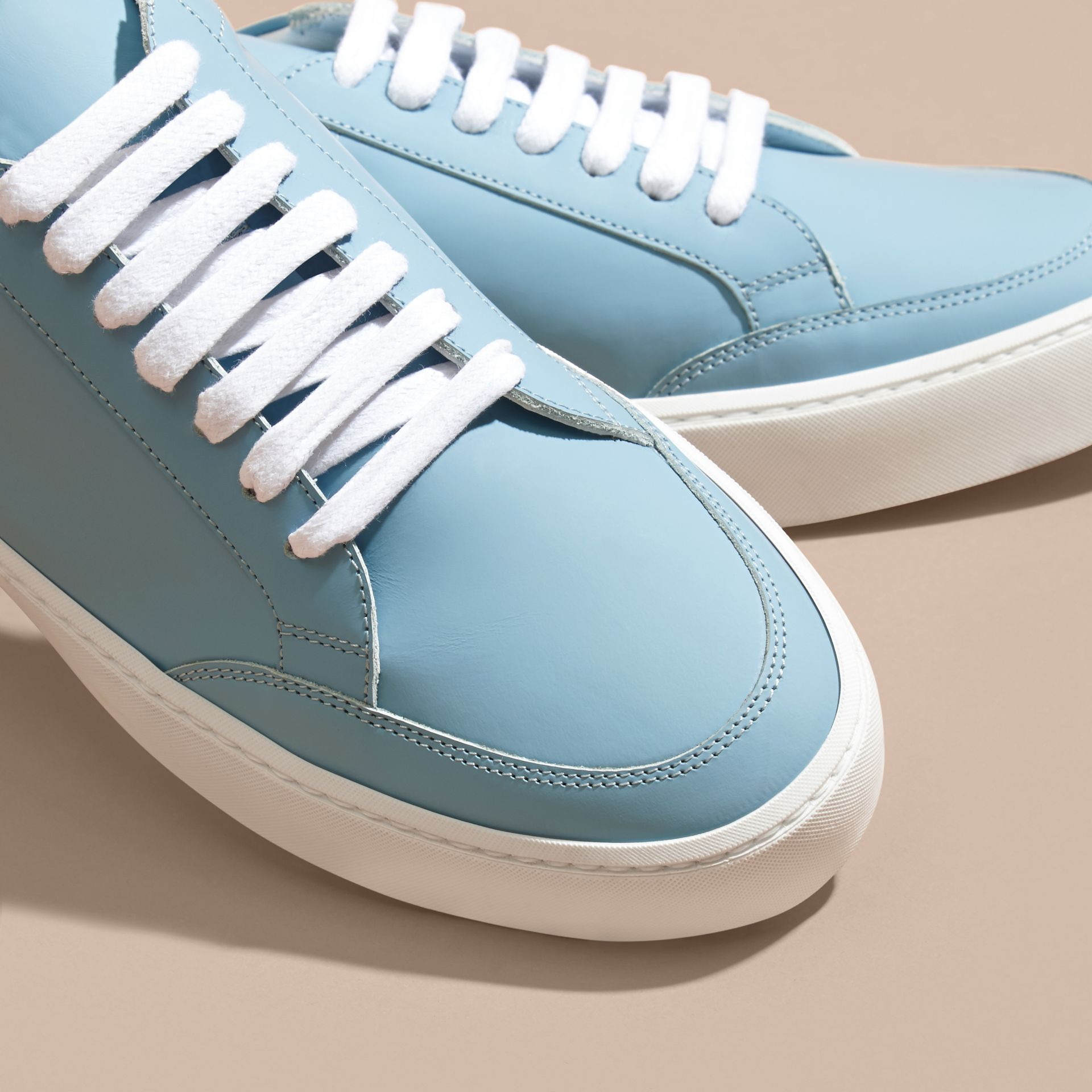 Metallic Detail Leather Trainers in Powder Blue - gallery image 3