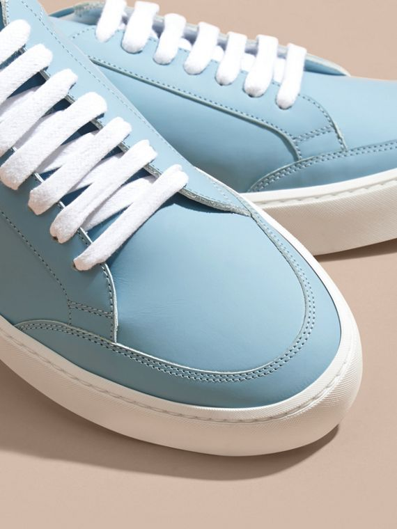 Metallic Detail Leather Trainers in Powder Blue - cell image 2
