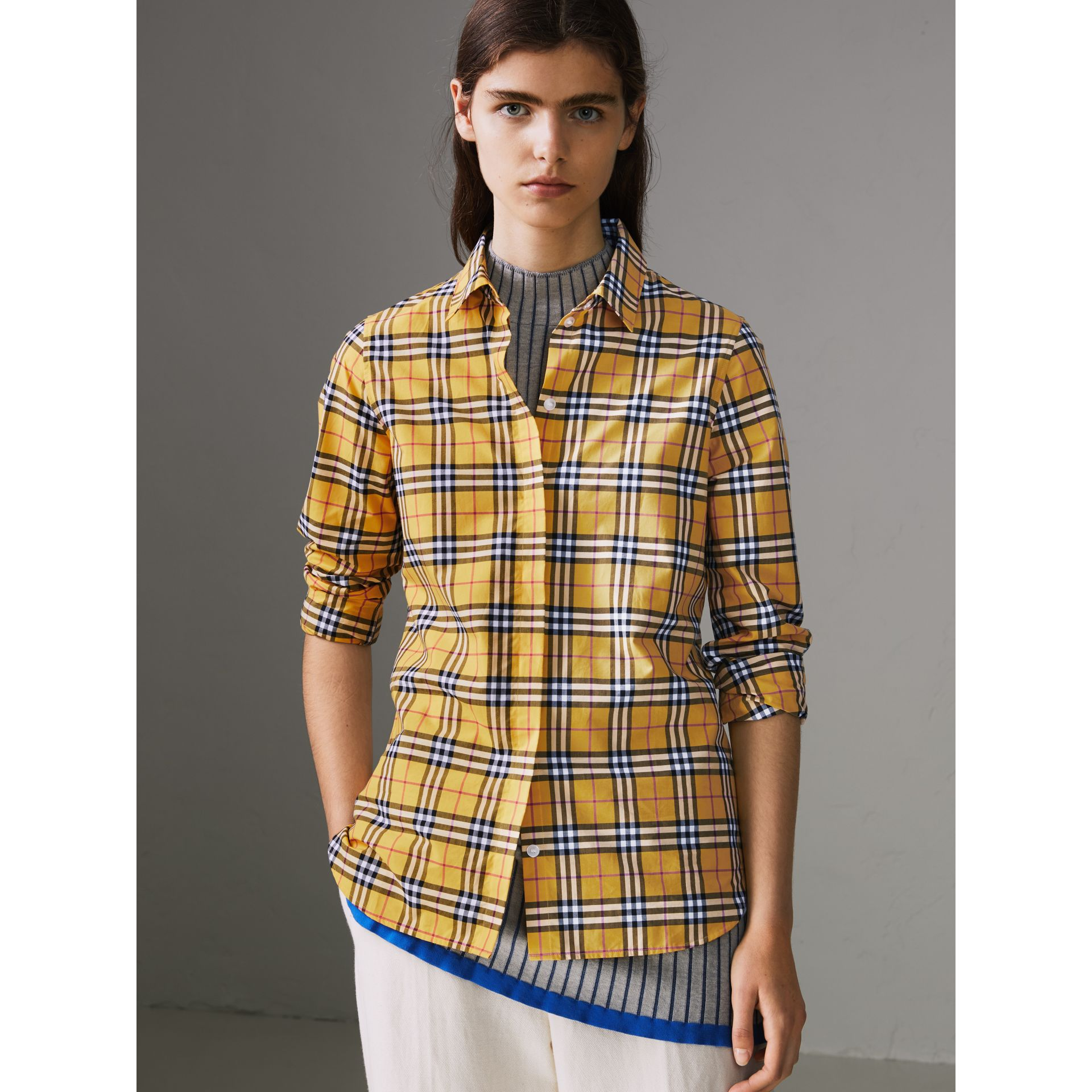 Check Cotton Shirt in Bright Ochre Yellow - Women | Burberry - gallery image 4