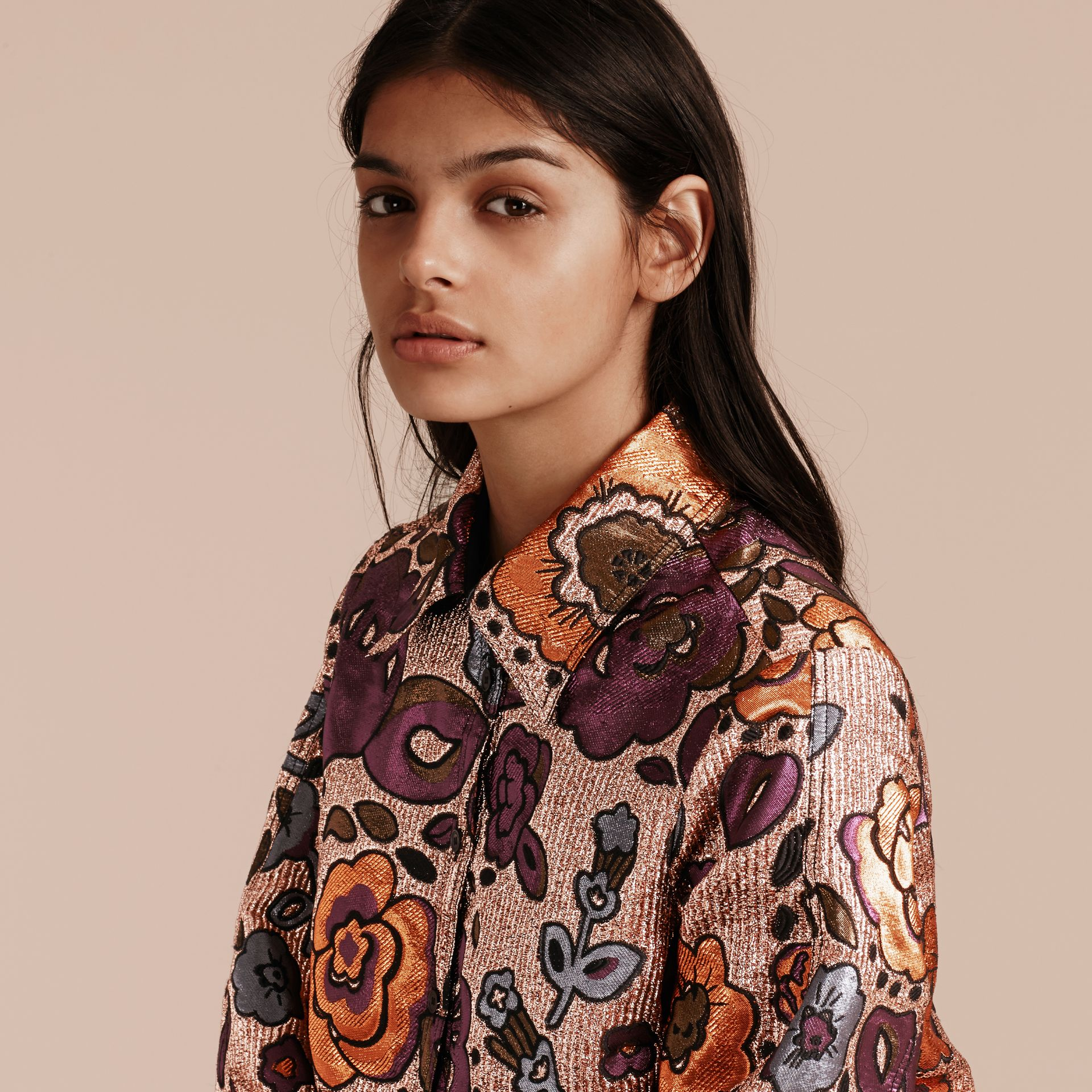 Copper rose Lamé and Floral Jacquard Sculptured Sleeve Shirt - gallery image 5