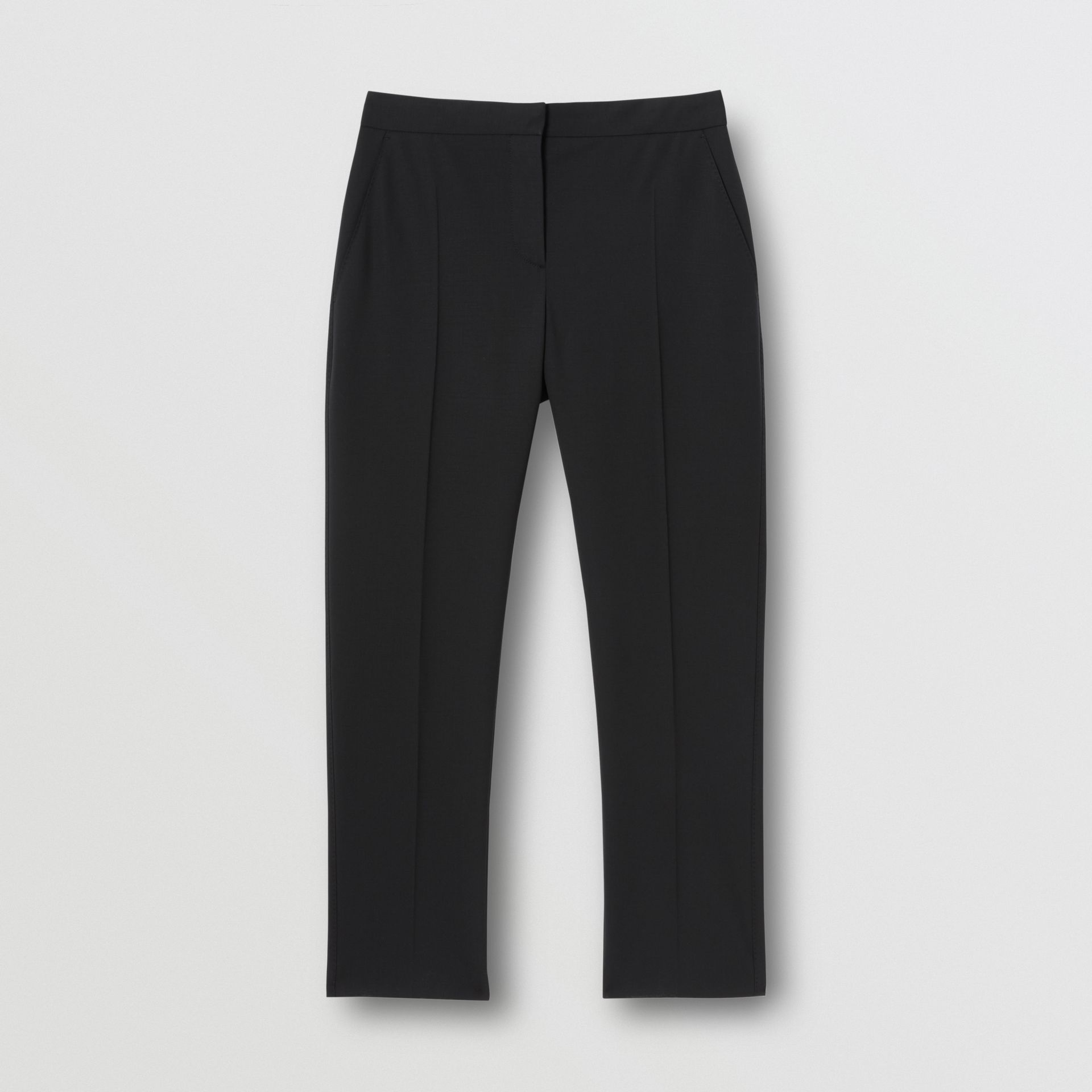 Side Stripe Stretch Wool Tailored Trousers in Black - Women | Burberry - gallery image 3