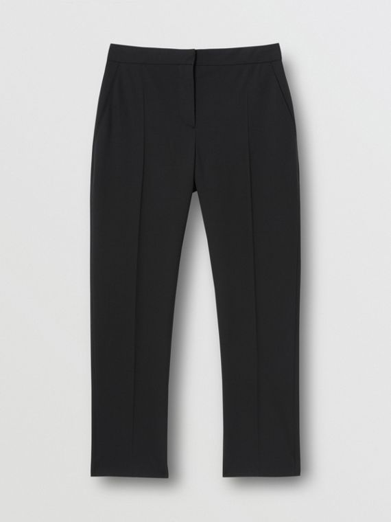 Side Stripe Stretch Wool Tailored Trousers in Black