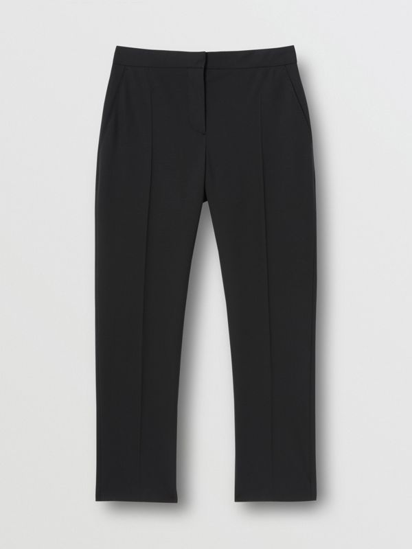 Side Stripe Stretch Wool Tailored Trousers in Black - Women | Burberry - cell image 3