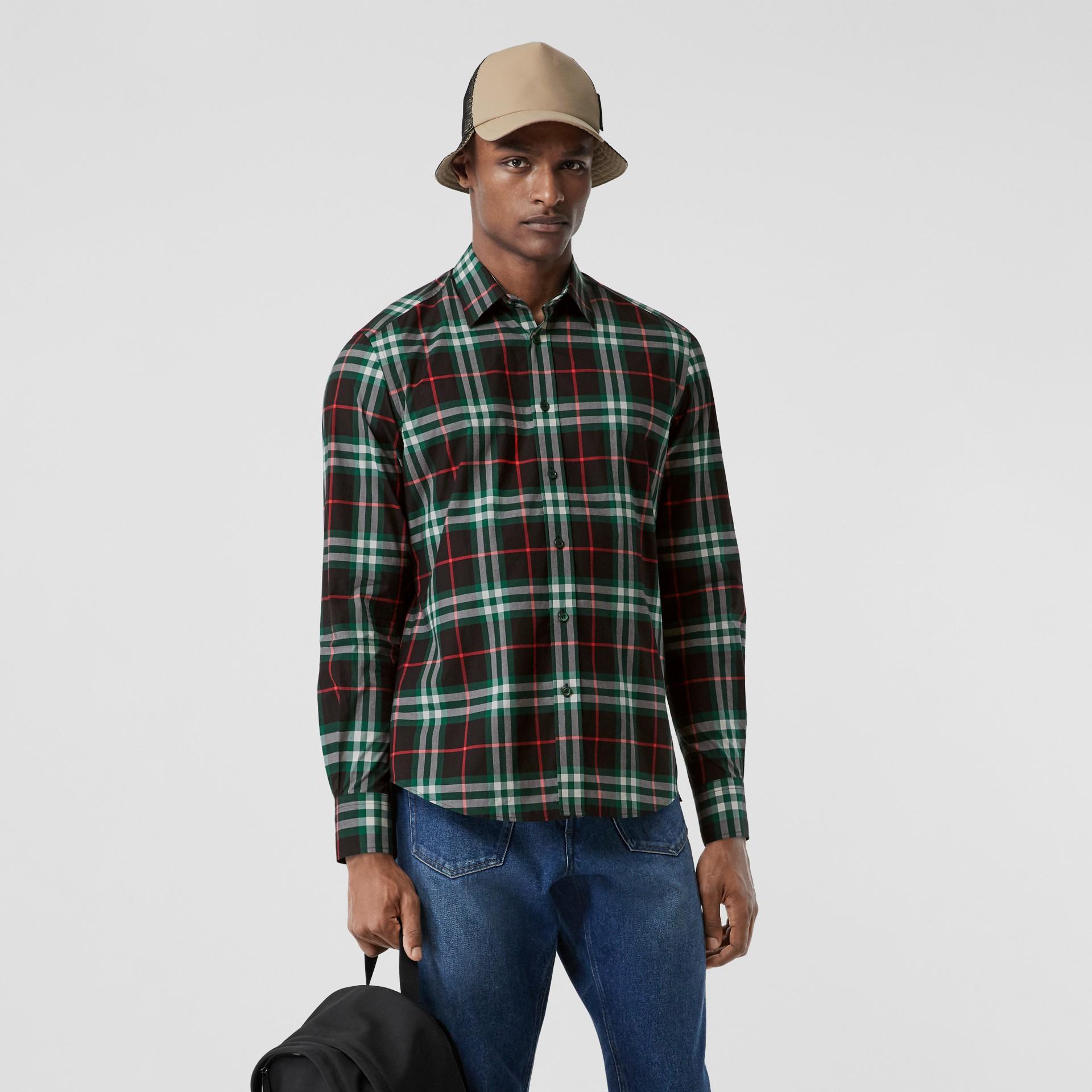 Check Cotton Poplin Shirt in Viridian Green - Men | Burberry - gallery image 0