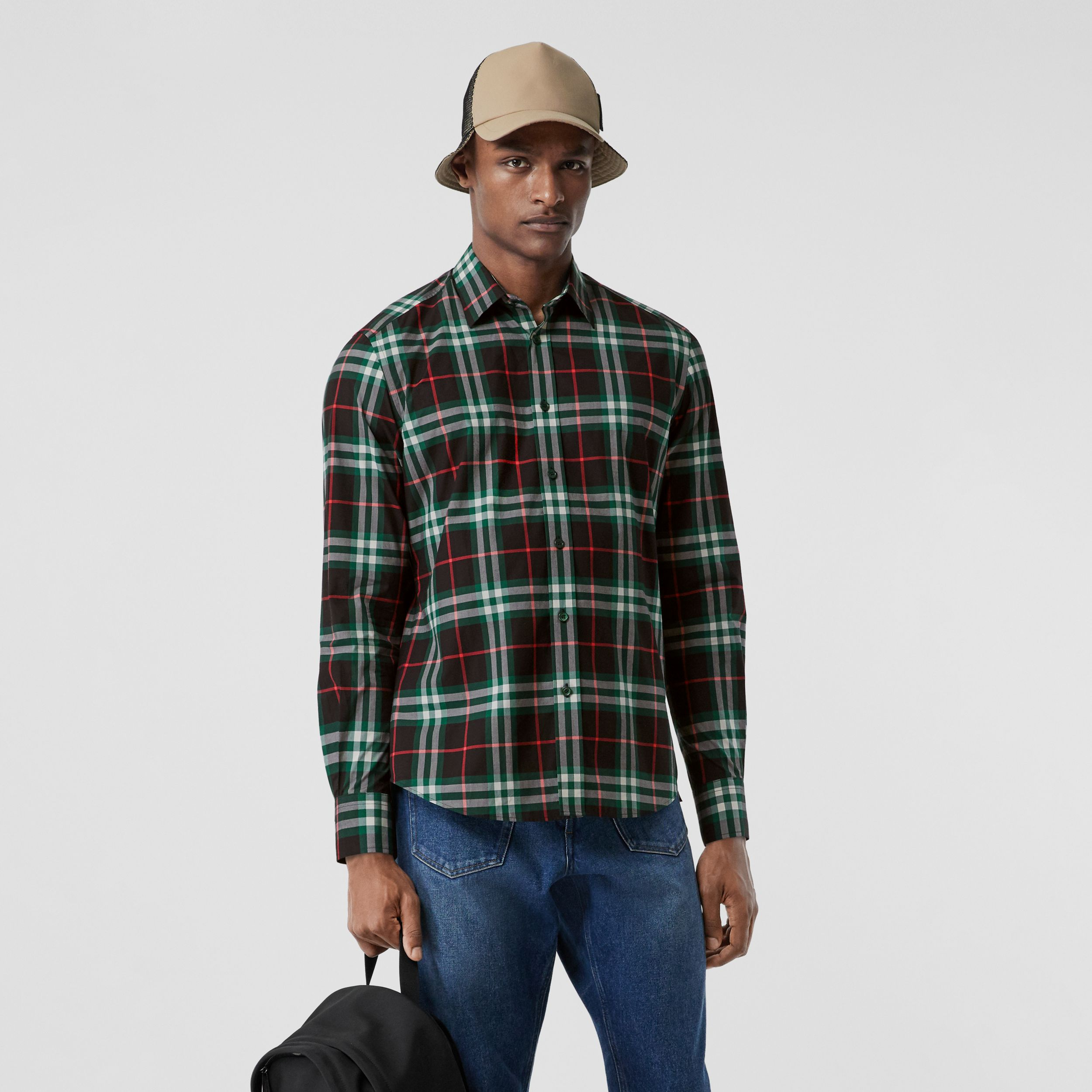Check Cotton Poplin Shirt in Viridian Green - Men | Burberry - 1