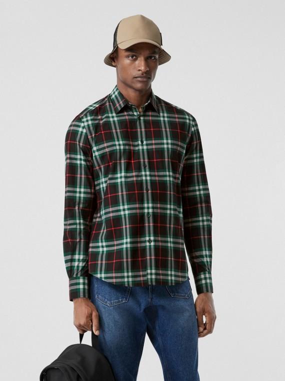 체크 코튼 포플린 셔츠 (비리디언 그린)