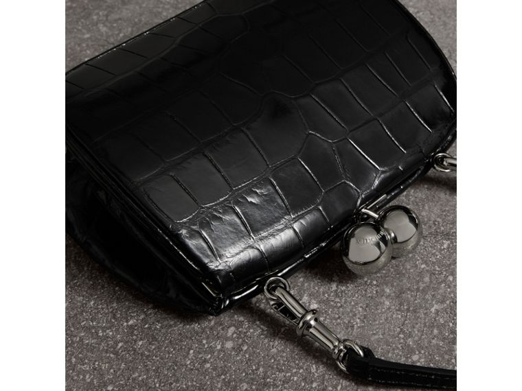 Small Alligator Metal Frame Clutch Bag in Black - Women | Burberry - cell image 4