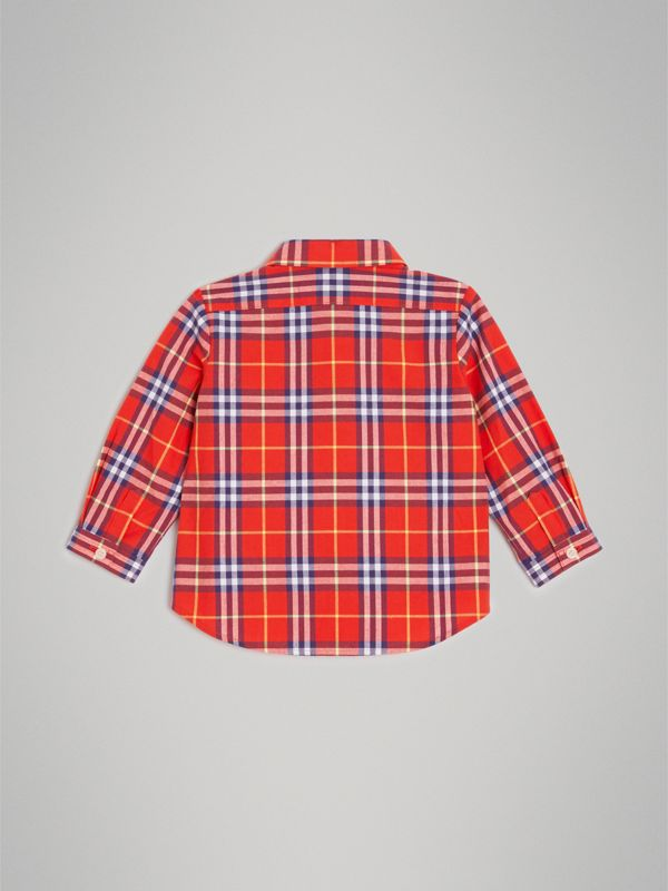 Button-down Collar Check Cotton Shirt in Orange Red - Children | Burberry Australia - cell image 3