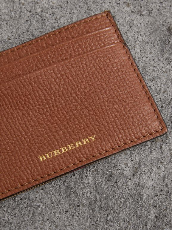House Check and Grainy Leather Card Case in Chestnut Brown | Burberry - cell image 1