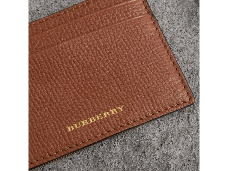 House Check and Grainy Leather Card Case in Chestnut Brown - Men | Burberry Australia - cell image 1